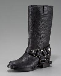 Miu Miu Black Buckle-Harness Motorcycle Boot
