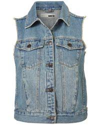 TOPSHOP | Blue Sleeveless Denim Jacket | Lyst