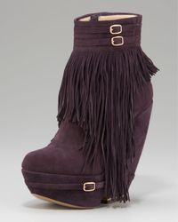 Nicholas Kirkwood | Purple Fringed Wedge Bootie | Lyst