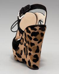 Prada - Black Lace-up Wedge Sandal - Lyst