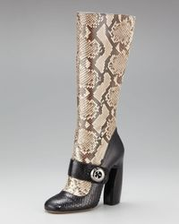 Prada | Black Bi-color Python Mary Jane Boot | Lyst