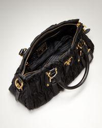 Prada | Black Nylon Gaufre Small Satchel | Lyst