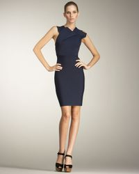 Roland Mouret | Blue Wilkes Fold-neck Dress | Lyst