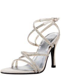 Stuart Weitzman Metallic Strappy Crystal Sandal