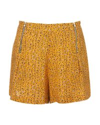 TOPSHOP Orange Grunge Ditsy Floral Short