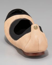 Tory Burch Brown Carrie Cap-toe Ballerina Flat