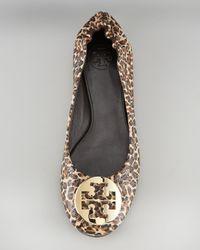 Tory Burch - Brown Reva Mini-leopard Printed Ballerina - Lyst
