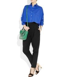 Vionnet - Black High-rise Tapered Stretch-wool Pants - Lyst