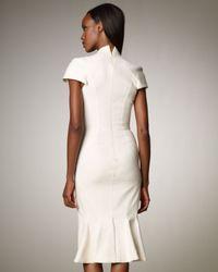Zac Posen - White Stretch Split V-neck Dress - Lyst