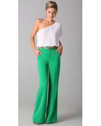 Alice + Olivia | Green High Waist Wide Leg Pants | Lyst