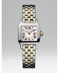 Cartier | Metallic Santos Demoiselle Stainless Steel Watch On Stainless Steel & 18k Yellow Gold Bracelet, Small | Lyst