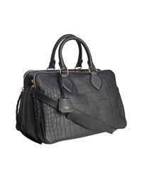 Céline | Black Croc Embossed Triple Compartment Bag | Lyst