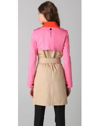DSquared² | Natural Color Block Trenchcoat | Lyst