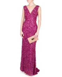 Eastland - Purple V Neck Sequin and Raw Chiffon Gown - Lyst