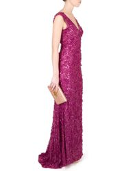 Eastland | Purple V Neck Sequin and Raw Chiffon Gown | Lyst