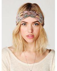 Free People | Gray Zig Zag Turban Headband | Lyst