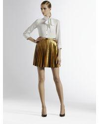 Gucci Metallic Pleated Leather Skirt