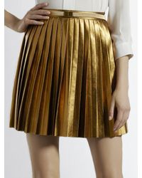 Gucci - Metallic Pleated Leather Skirt - Lyst