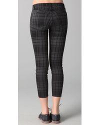 J Brand - Gray Cropped Plaid Skinny Pants - Lyst