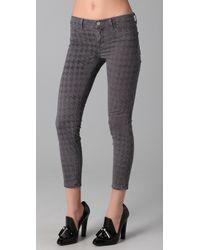 J Brand | Gray Houndstooth Skinny Capri Pants | Lyst