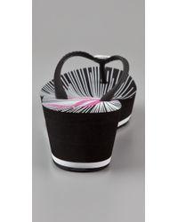 Juicy Couture - Black Cara Wedge Flip Flops - Lyst