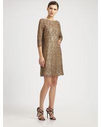 Kay Unger Metallic Lace Dress