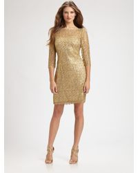 Kay Unger - Metallic Lace Dress - Lyst