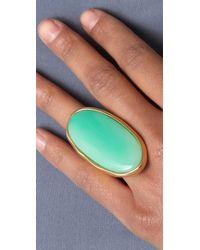 Kenneth Jay Lane - Green Satin Gold & Jade Oval Ring - Lyst