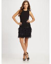 MICHAEL Michael Kors   Black Feather Trim Dress   Lyst