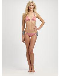 Nanette Lepore - Red Riviera Stripe Bikini Top - Lyst