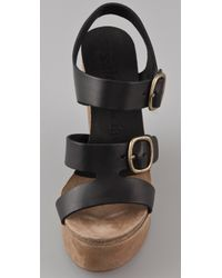 Pedro Garcia | Black Teri Wedge Sandals | Lyst