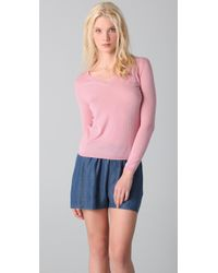 RED Valentino | Pink V Neck Cashmere Sweater with Bow | Lyst