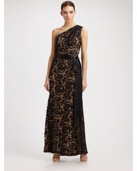 Tadashi Shoji | Black One Shoulder Embroidered Lace Gown | Lyst