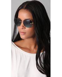 Tory Burch - Blue Rimless Aviator Sunglasses - Lyst
