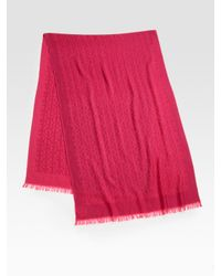 Tory Burch | Pink Wool All-Over Logo Scarf | Lyst