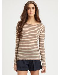 Vince | Brown Striped Linen Boatneck Sweater | Lyst