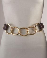 Suzi Roher - Metallic Hammered Chain & Leather Belt - Lyst
