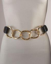 Suzi Roher Metallic Hammered Chain & Leather Belt