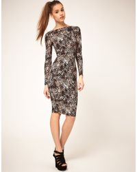 ASOS Collection - Brown Asos Midi Bodycon Dress in Leopard Print - Lyst