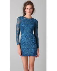 Matthew Williamson | Blue Long Sleeve Lace Dress | Lyst