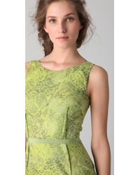 Peter Som - Green Croc Jacquard Dress - Lyst