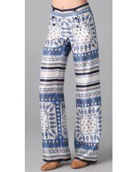 Philosophy di Alberta Ferretti | Blue Printed Satin-twill Pants | Lyst