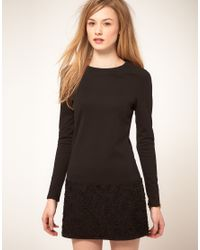 Ted Baker | Black Long Sleeve Gathered Ruffle Sweat Dress | Lyst