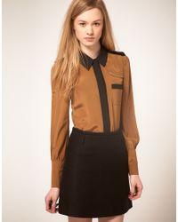 Ted Baker - Metallic Colour Block Detail Silk Shirt - Lyst