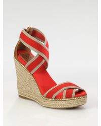 Tory Burch | Natural Adonis Canvas & Leather Espadrille Wedge Sandals | Lyst