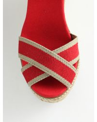 Tory Burch - Natural Adonis Canvas & Leather Espadrille Wedge Sandals - Lyst