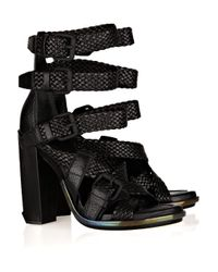 Alexander Wang | Black Petra Textured-leather Sandals | Lyst
