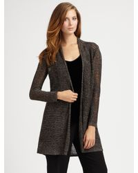 Eileen Fisher - Gray Long Sparkle Cardigan - Lyst