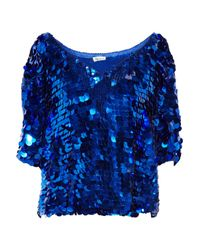 Foley + Corinna | Blue Paillette-embellished Chiffon Top | Lyst