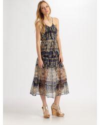 Joie | Blue Izzy Silk Ikat-print Racerback Maxi Dress | Lyst